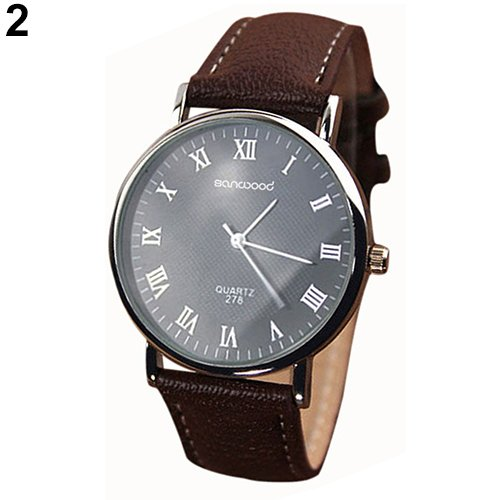 Business Men's Roman Numerals Faux Leather Band Quartz Analog Luxury Dress Watches New Design 6XYV (Invicta Navy Seal Dive Watch compare prices)
