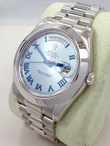 ROLEX DAY-DATE II 2 PRESIDENT PLATINUM WATCH ICE BLUE DIAL 218206 BOX/PAPERS 2014