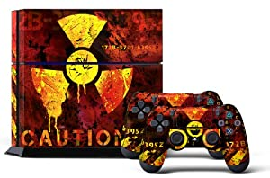 PS4 Console Designer Skin for Sony PlayStation 4 System plus Two(2) Decals for: PS4 Dualshock Controller Meltdown