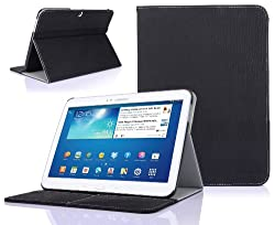 SUPCASE Samsung Galaxy Tab 3 10.1 inch Tablet Slim Hard Shell Leather Case with Auto Wake/Sleep - Black, Multi-Angle Viewing, Business Card Holder