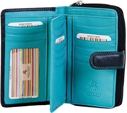 VISCONTI LADIES MEDIUM SOFT LEATHER BLACK/AQUA