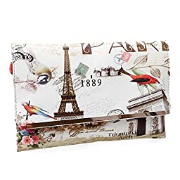BMC Womens Textured PU Faux Leather Postage Stamp Design Print Flap Fashion Clutch Handbag - Oui Oui Paris