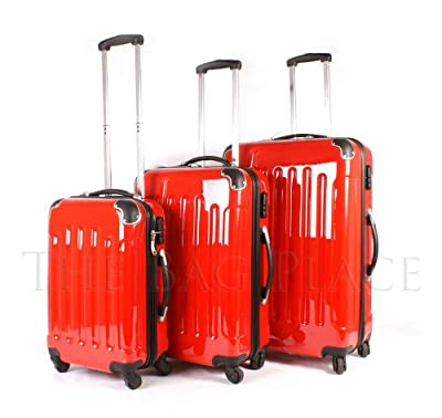 Red set of 3 piece - 4 wheel trolley suitcases - hard shell case poly carb pc bag