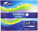 Tampax Pearl Plastic Triple Pack, Light/Regular/Super Absorbency, Unscented Tampons, 50 Count