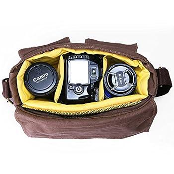Peacechaos Messenger Bag Leather Canvas Shoulder Bookbag Laptop Bag + DslrSlr Camera Canvas Shoulder Bag 2