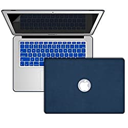 MacBook Air 13 Inch Leather Case, SlickBlue Hard Leather Coated Case with Keyboard Skin & Screen Protector for MacBook Air 13