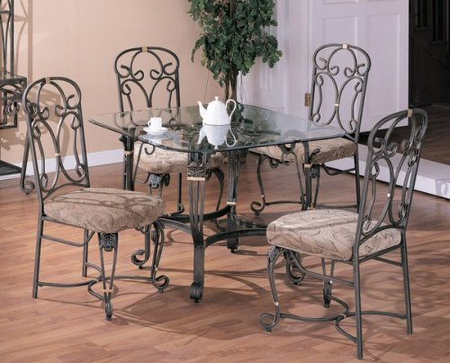 Cheap 5pc Square Glass Top Metal Dining Room Table Cushion Chairs Set (VF_dinset-7242-7243)