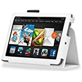 InventCase Amazon Kindle Fire HD 7 Tablet (3rd Generation - 7-Inch) 2013 Smart Multi-Functional Leather 2-Fold Case Cover with Sleep Wake Function - White