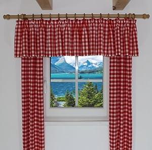 querbehang passend f r vorhang landhaus design finja querbehang kariert farbe rot breite 30. Black Bedroom Furniture Sets. Home Design Ideas