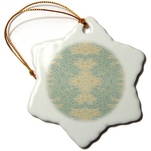 Florene - Art Deco and Nouveau - Image of art deco starfish pattern - Ornaments - 3 inch Snowflake Porcelain Ornament