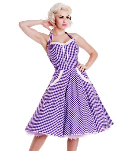 Hell Bunny Lavender Charlotte Dress XS - UK 8 / EU 36