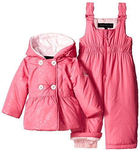 Steve Madden Baby-Girls Infant Double Breasted Polyfill Hooded Snowsuit, Pink Moon, 24 Months