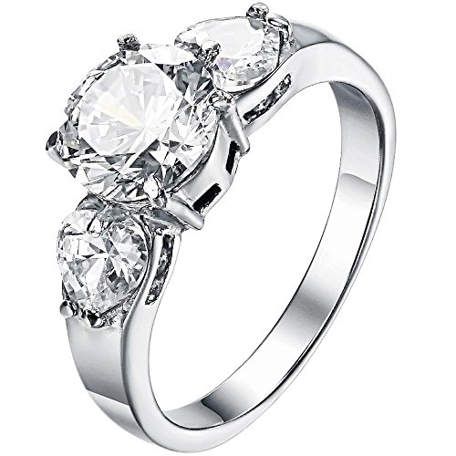 BOHG Jewelry Womens Fashion 3 Stone Heart Cubic Zirconia Cz Promise Eternity Ring Engagement Wedding Band Size 7 (Ring For Girlfriend compare prices)