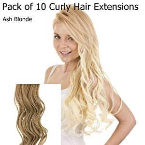 Amazon Com Ash Blonde Curly 18 Quot Clip In Full Head Hair