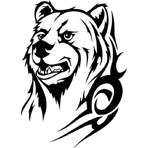 Amazon.com - Tribal Bear face with tattoo, Vinyl Sticker Wall Art Deco