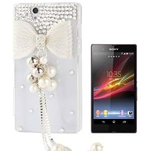 3D Bowknot Pattern Diamond Encrusted Transparent Plastic Case for Sony Xperia Z / L36h / Yuga C6603