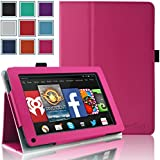 Kindle Fire 1st & 2nd Generation Cover Case - HOTCOOL Slim New PU Leather Case For Amazon Original Kindle Fire 2011 (Previous Generation - 1st) And Kindle Fire 2012 (Previous Generation - 2nd) Tablet(Will not fit HD or HDX models), Magenta