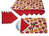 Lushomes Basic Print 6 Reversible Cotton Mats & 6 Plain Cotton Napkins