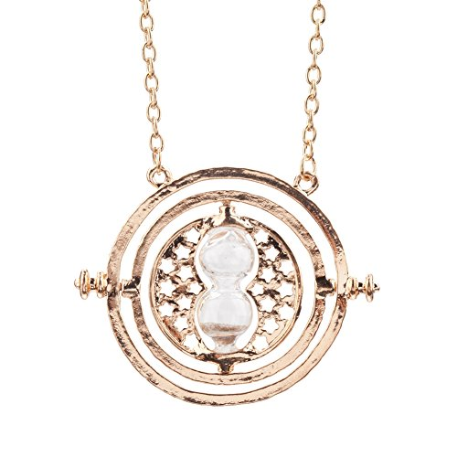 Breathtaking Antique Style Golden Colored Metal Necklace With Double Ring And Movable / Turning Sand Watch Pendant On Chain By VAGA®
