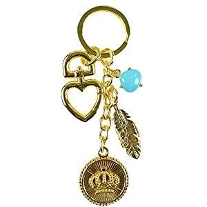 Juicy Couture Coin Medallion Crown Charm Keychain Gold Tone