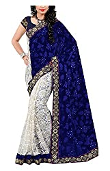 Arya Dress Maker Women's Georgette Saree with Blouse Piece (Blue and White)