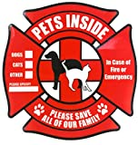 4 Pack | Pet Inside Sticker | Static Cling Rescue Window Decals w/ Bonus Pet Saver Wallet Card | No Adhesive | Red | 4.75 in x 4.75 in