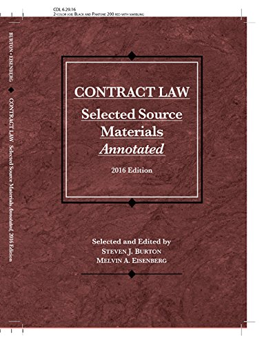 Contract Law, Selected Source Materials Annotated (Selected Statutes)