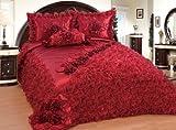 Bettüberwurf Set Tagesdecke Sibel Bordeaux – 250 cm x 260 cm 4 teilig