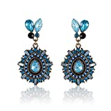 Cinderella Style Diva Blue Stone Hanging Earrings For Girls