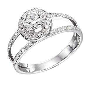 GIA Certified 14k white-gold Round Cut Diamond Engagement Ring (0.76 cttw, F Color, VS2 Clarity)