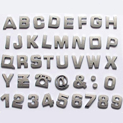 Okeler 1 Set 40 Pcs Silver Car Logo Auto 3D Emblem Badge Sticker Chrome Letters Number with Free Pen (Car Emblem Chrome compare prices)