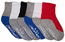 N\'Ice Caps Big And Little Boys Cotton/Spandex 2 Tone Crew Sock 6PR Pack (4-5.5, heather grey/white/royal/black gripper)
