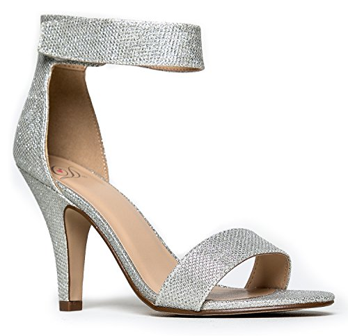 Delicious Rosela Open Toe High Heel Ankle Strap Sandal,Silver Shimmer,10