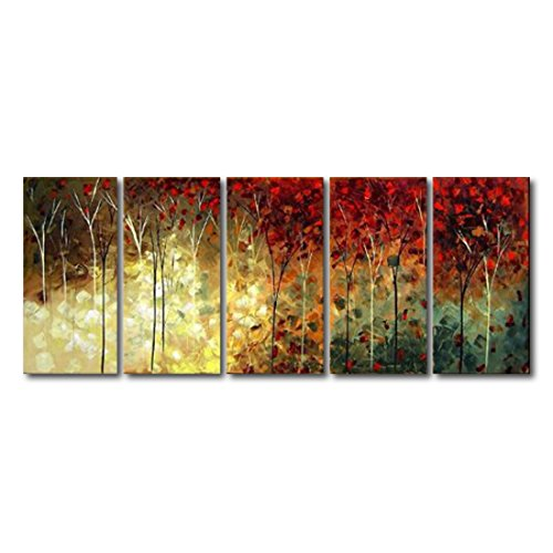 VASTING ART 5-Panel 100% Hand-Painted Oil Paintings Landscape Trees Forest Modern Abstract Contemporary Artwork Stretched Wood Framed Ready Hang Home Decoration Wall Decor Living Room Bedroom Kitchen (Oak Tag Poster Board compare prices)