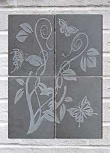 Greenkey Large Butterfly Slate Wall Art by Greenkey Garden and Home Ltd