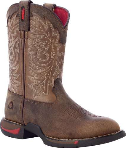 Kid's Rocky Long Range Round Toe Western Boots Brown / Tan,