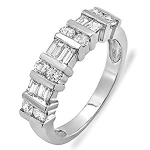 1.00 Carat (ctw) 14K White Gold Round & Baguette Diamond Ladies Anniversary Wedding Band 1 CT (Size 4)