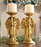 Set of 2 Gold Guardian Nativity Angels Candle Holder Decor Table Top Mantle Centerpiece Home Accent Christmas Holiday Decoration