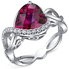 buy 4.00 Carats Created Ruby Ring Sterling Silver Heart Shape Swirl Design Size 8