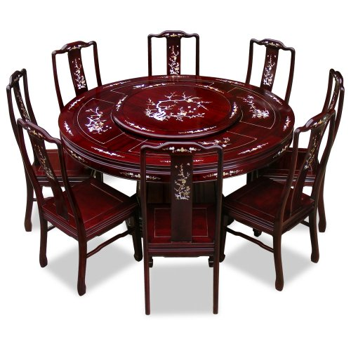 Rosewood Dining Room Set: 60in Rosewood Round Dining Table With 8 Chairs