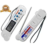 'MEAT HEAT' Digital Meat Thermometer. Instant Read with Stainless Steel Foldout Probe. BBQ, Grill, Roast. White Model DT0160