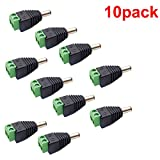 inShareplus 10 Pack 5.5 X 2.1mm Barrel Power 12V DC Connector Male for CCTV Security Camera LED Strip