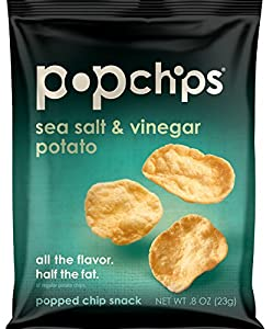 Popchips potato chips SEA SALT and VINEGAR, single serve 0.8 Ounce (Pack of 24)