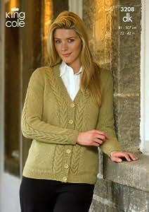 Free Knitting Pattern Ladies Cardigan Dk : King Cole Ladies Cardigan & Sweater Merino DK Knitting Pattern 3208: Amaz...