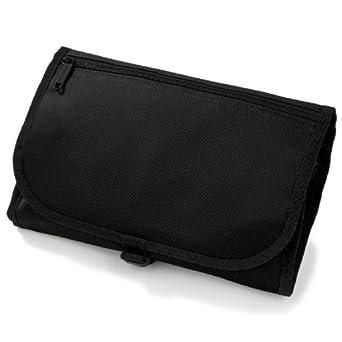 New Mens/Ladies Travel Wash Bag, Hanging, Folding, Toiletry case & Mirror (Black)