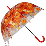 Kung Fu Smith Auto Open Transparent Bubble Shape Cartoon Print POE Stick Umbrella (Red Leaves)