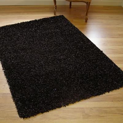 NEW MODERN SHAGGY JAZZ SPARKLY RUG BLACK 1.6M X 2.3M