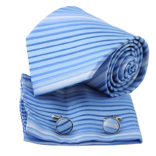PH1122 Blue Stripes Woven Silk Tie Handkerchiefs Cufflinks Present Box Set Cornflower Blue Fashion and Jewelry By Epoint