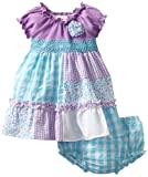 Youngland Baby-girls Infant Seersucker Patchwork Dress, Purple/Turquoise, 12 Months