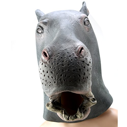 GZmambateCreepy hippo Mask Head for Halloween Party Decorations Costume Rubber Gray